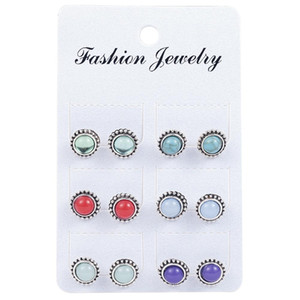 6 Pairs  set Vintage Silver Color Stone Stud Earrings Flower Piercing For Women Boho Earrings Fashion Jewelry Party Gift 2018 sqcezz