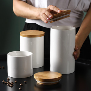 Ceramic Storage Can Bamboo Cover Spices Jar Sugar Coffee Container Box Grains Nuts Tank Kitchen Organizer Tools Home Supply Y1119