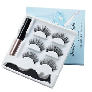 3 Pairs Of Magnetic Eyelashes Waterproof Magnetic Eyeliner And Tweezers Magnet Faux Mink Eyelashes Makeup 3D False Set
