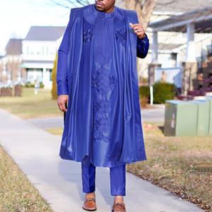 H&D African Men Agbada Embroidery Dashiki Plus Size Boubou Shirt Pants Suit 3 Piece Set Mens Clothes Party Meeting Formal Attire