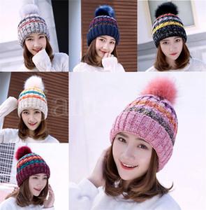 Kış Polar Sıcak Şapka Beanie Kadınlar Kızlar için Faux Kürk Pom Beanies Açık Spor Örme Skully Isıtıcı Kayak Şapka Yumuşak Kalın Kadın Caps
