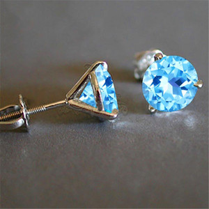 Luxury Female 6 7 8mm Natural Aquamarine Round Earrings Real 925 Sterling Silver Earrings For Women Small Screw Stud