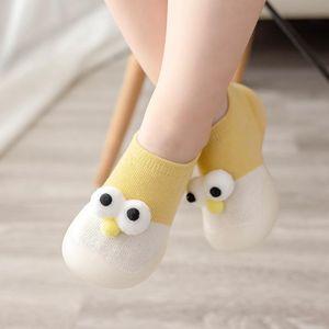 Newborn Baby Anti-slip Shoes Cartoon 3D Eyes Kids Girl Cotton Non-slip Floor Sock Baby Boy Rubber Sole Indoor Socks Infant Shoes