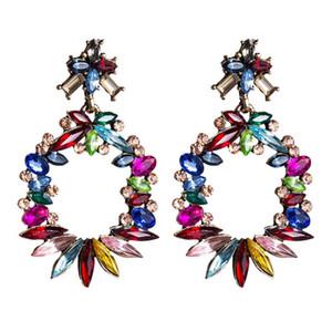LUBOV Mulicolor Crystal Stone Big Circle Dangle Earrings Beautiful Acrylic Wreath Drop Earrings Trendy Women Party Jewelry