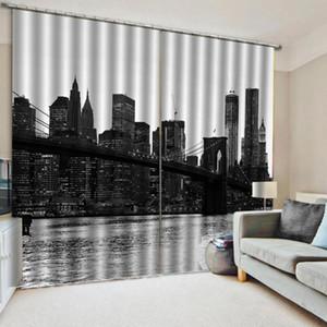 curtains for room Nature Black and white city bridge photo print 3d curtain Garden Door curtain custom curtains