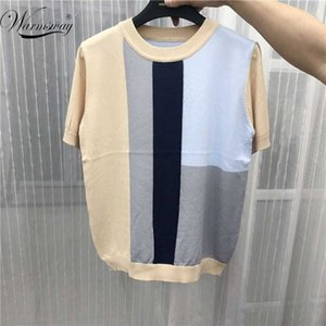 Colorful Block Women Summer Pullover Knitted Sweater Elasticity Round Neck Short-Sleeved Silk Female Loose T-shirt B-094