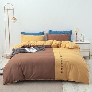 Nordic Simple Bedding set 100%Cotton Queen Candy Color Blocking Duvet Cover Bed Linen Adult Full Bedclothes Brief Home Textile