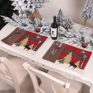 Christmas Decorations Christmas Tree Red Truck Placemats Table Mat Winter Buffalo Plaid Placemat Dining Home Xmas Table Decoration HH9-3650