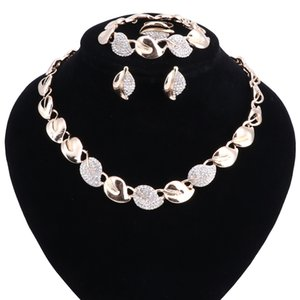 The New Leaf Crystal Bridal Jewelry Sets Rhinestone Necklace Earrings Bracelet Ring African Beads Wedding Jewelry Sets