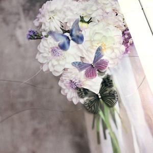 New Fashion colourful 3D doppio tulle farfalla girocolli collana per le donne cristallo invisibile linea di pesce collane in seta argento catena regalo