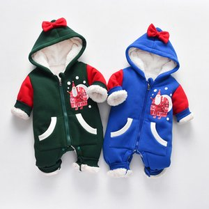 Toddler Girls Boys Jumpsuit Winter Fleece Newborn Baby Romper Christmas Kids Overalls New Years Costumes Hooded Infant Clothes Z1121