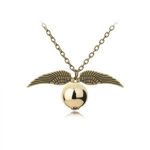 Disponibles Moda Harry Collar Hombres Mujeres Estilo Vintage Angel Wing Charm Gold Snitch Colgante Colgante Para Potter Movie Fans Accesorios