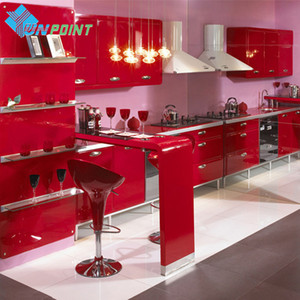 New Red Paint Waterproof DIY Decorative Film PVC Vinyl Self Adhesive Wallpaper Kitchen Cabinet Furniture Wall Sticker Home Decor Y1120