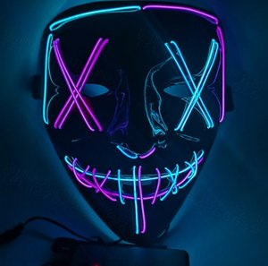 Usine rougeoyante halloween el 9 styles de visage plein de visage froide clown clown v Word VENDETTA DANCE Party Masque LED Masque Livraison gratuite