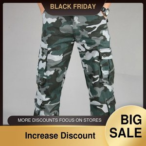 Autumn Men's Cargo Long Pants Safari Style Multi-pocket Military Camouflage Green Trousers Outdoor Casual Pants Oversized Z1126