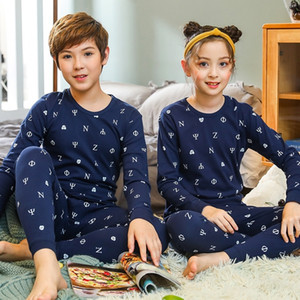 Boys Girls Sleepwear Winter Cotton Pajamas Sets Children Homewear for Boy Pyjamas Kids Nightwear 9-19Y Teenage Pijamas Clothes Y200114