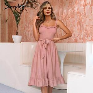 Simplee Stickey Stickey Ruffle Elegante Dress Donne Rucchitati A Sashes Bow Cotton Estate Midi Abiti Sexy Sexy Solid Femmina Rosa Vestidos 20191