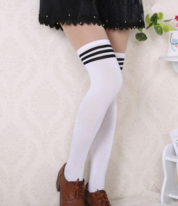 Womens Lady Girls Opaque Knit Over Knee Thigh High Stockings Strip Sock Leggings Soft Comfortable Lolita Style Show Long legs