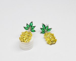 Sterling Silver Needle Crystal Pineapple Earrings For Women Fashion Jewelry Bijoux 2017 Hot Simple Gifts Summer Aceessories