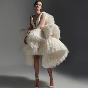 Luxury Ruffled Evening Dresses Deep V Neck A Line Tulle Feather Short Prom Gowns Tiered Skirts Custom Made Women Dress