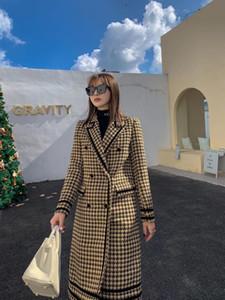 2020FW Autumn New Women High Quality Plaid 100% Wool Long Jacket Coat Female Luxury Outerwear Gdnz 11.27
