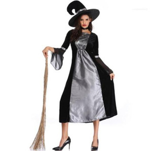 Apparel Witches Cosplay Womens Halloween Desigher Theme Costume Hat Long Sleeve Fashion Dresses Female Clothing Sexy Casual