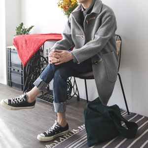 Botão Britânico Boton's Primavera e Outono Desgaste Médio Longo Woolen Windbreaker Moda Coreana Bonito Casaco Espessado