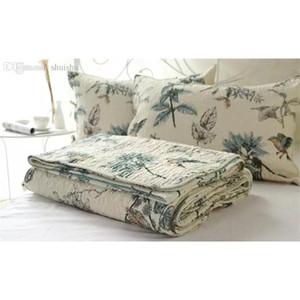 Wholesale-100% Cotton Quilt Bedspread Pastoral Bird And Flower Bed Quilt 3pc Set King Size Quilt Cover Set Home Textile B jllTXM soif