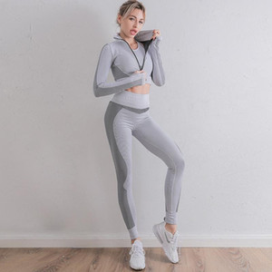 Autunm Winter Fashion Suit Womens Cotton Gymshark Yoga Leggings Sportwear Set 2PCS Sports Two Fitness Coat Piece Designer Outfits Track Clha