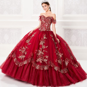 Red Ball Gown Quinceanera Dresses Lace Appliques Beaded Bodice Corset Princess Prom Dress Off the Shoulder Gorgeous Sweet 15 Gowns Lace-up