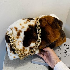 Luxurious Chain Shoulder Handbag Faux Fur Cloud bag Fashion Winter Underarm Bag Cross Body Bag