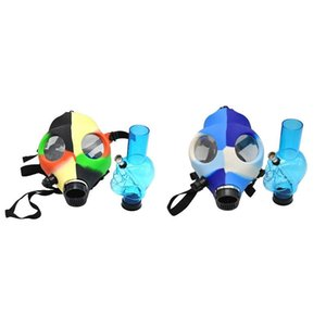 Gas Mask Silicone Pipe with Acrylic Smoking Bong Solid Camo Colors Creative Design Dabber for Dry Herb Concentrate Cosplay