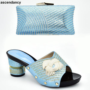 Nuova scarpa e borsa corrispondente per la Nigeria Party Slip on Shoes for Donne Signore Scarpe e sacchetti Italiano Set decorato con strass