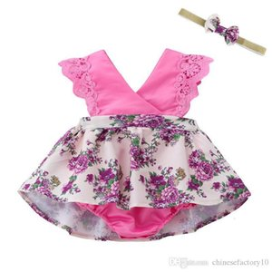 Dresses Baby Girl Lace Flower Kids Designer Clothes Girls Free Headband 2019 Summer Beach Princess Dresses 4 colors V3WT