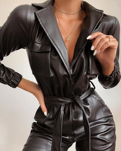 Sexy Tie Waist Faux Leather Jumpsuit Women Winter Autumn Turn Down Collar PU Jumpsuits Drop Shipping