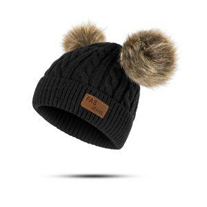 Kids Girls Boys Winter Double Pompom Twisted Knit Ski Beanie Faux Fur Hat Cap 10pcs lot