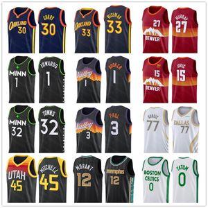 2021 New Jerseys Doncic NCAA LUKA JA MORANT Curry Wiseman Jokic Murray Edwaros Towns Donovan Mitchell Pascal Jayson 0 Tatum Jersey