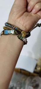 Bohemian argent plaqué turquoise naturelle tissée bracelet à la main de style ethnique bracelet en cuir vintage en gros