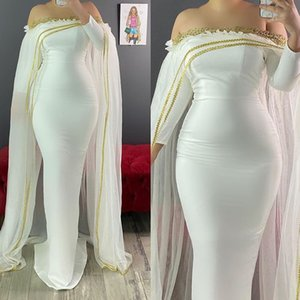 White Mermaid Pregnant Evening Dresses Sheer Neck Long Sleeve Gold Appliques Formal Wear With Cape Celebrity Dress