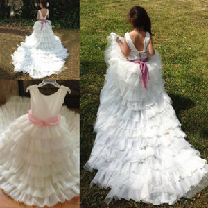 Pink Puffy Princess Kids Dresses Real Image Flower Girl Dresses with Bow Pearls for Wedding Party Birthday Ball Gowns