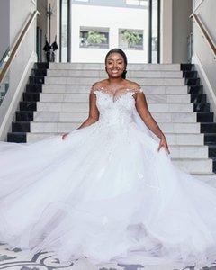 Plus Size Wedding Dresses A Line Off The Shoulder Lace Appliqued Beaded Country Wedding Dress Custom Made Robes De Mariée Vestido de Novia