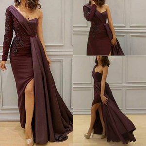 Arabic One Shoulder Satin Mermaid Long Evening Dresses Ruched Lace Applique Beaded Split Floor Length Prom Gowns Vestidos De Festa