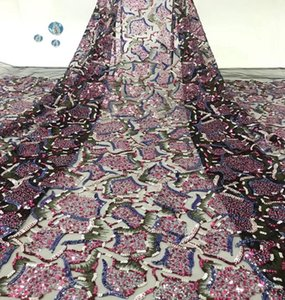 Nigerian lace fabric 2020 beautiful color embroidery african french tulle lace fabric with sequins for party dress