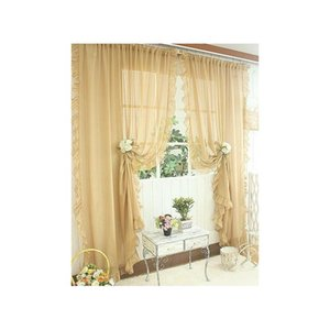 1pair Of Sheer Curtain 2pcs Beautiful Ruffles White Pink Yellow Colors Window Curtains,table Top, qylWWJ dh_garden