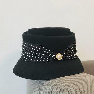 2021 Elegant British women's Hat black and white bow ribbon embellishment soft fabric hat with dress Blazer lady's cap wool Cap