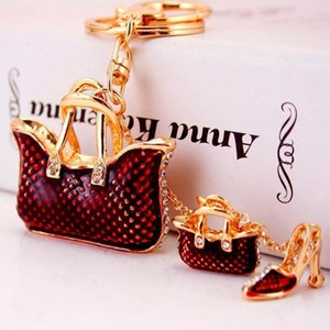 New Red Shoe Heel Gift1 Chain Great Handbag Rhinestone Crystal Car Purse Key High Jewelry Fashion Cute Vleue