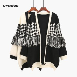 Uvrcos Plaid Tassel Cashmere Lady Sweater Cardigan Single Breasted Mujeres Cálidos Suéteres Manga larga Spans Tops