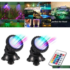 led aquarium light set 2 lights rgb 72 leds fish tank underwater spotlight remote control swimming pool garden pond lamp d25 y200917 MSuAY