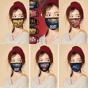Factory6K8FFACE 2021 Happy Fashion Respirant Réutilisable Impression de coton Coton Célébrez les fournitures du Nouvel An Masque de fête PM2.