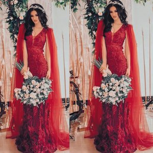 2021 Charming Red Formal Evening Dresses Full Lace 3D Appliqued Sheath Body Shawl Long Prom Gowns V Neck Lady Runway Guest Gown